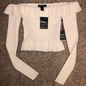 Off The Shoulder Cropped Sweater